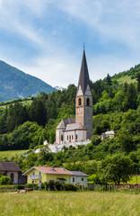 Summer Pfarrhaus Burgeis Church, Italy © wildman