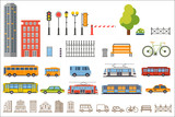 Vector city constructor design buildings, road equipment, transport, park elements. Buse, trolleybuse, tram, taxi and car. Flat and line style. Objects for background creation