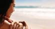 Leinwandbild Motiv Woman admiring the ocean view