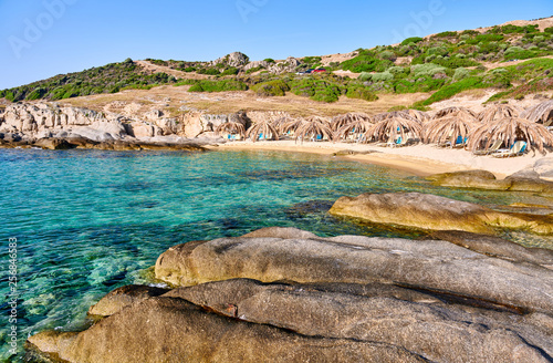Beautiful beach and rocky coastline landscape in Greece © haveseen