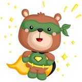 a vector of a bear in a superhero costume