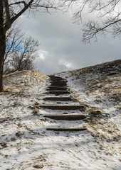 Old wooden steps on the hill. © Ludmila Smite