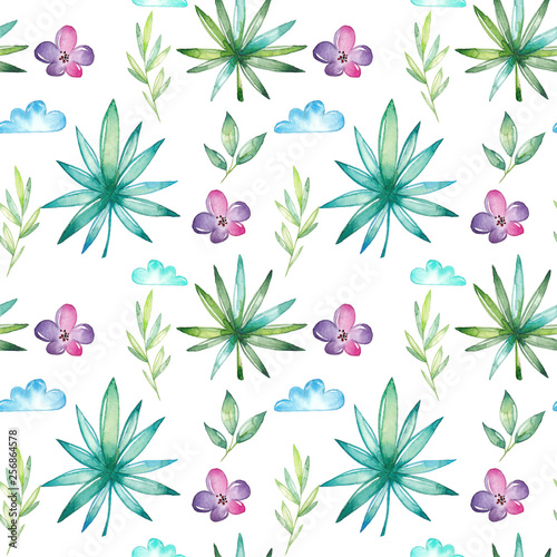 Watercolor tropical seamless pattern © vectorcup