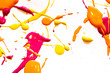 Orange Yellow and Pink Spant Splatters on White Background - 256865322