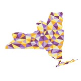 New York U.S. state polygonal map background  low poly style yellow, orange, blue, purple colors  vector illustration eps