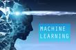 Leinwandbild Motiv Woman head silhouette, machine learning blue