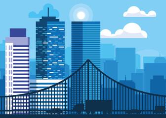 buildings cityscape scene with bridge © djvstock