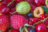 Beautiful background of various of summer berries: goosberry, currant, strawberry, raspberries, cherry close up