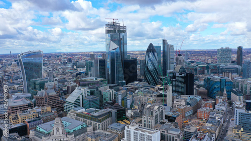 Aerial drone panoramic view of iconic financial and bank district with tall skyscrapers in City of London, United Kingdom © aerial-drone