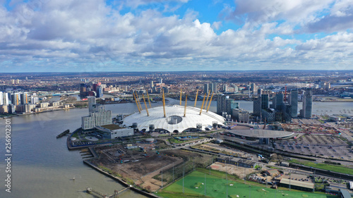 Aerial drone bird's eye view of iconic concert Hall of O2 Arena, Greenwich Peninsula, London, United Kingdom - 256902301