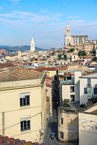 The old town of Girona. Top view from the fortress wall.