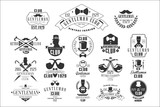 Monochrome vector set of stylish emblems for gentleman club. Vintage labels with silhouettes of men, smoking pipes, mustaches, bow ties and umbrellas