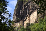 Sumela Monastery behind the tree Place: Trabzon, Turkey