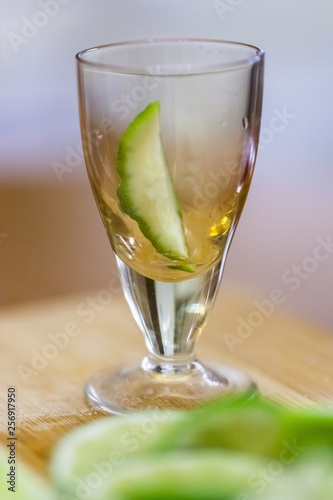 stack with lime slice on wooden table, close up, blurry background - 256917950