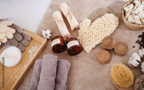 canvas print picture Top view spa and wellness setting with natural bath salt, soap, candles, towels and coffee beans for anticellulite massage for perfect healthy body and skin. Beauty luxury spa concept. Copyspace