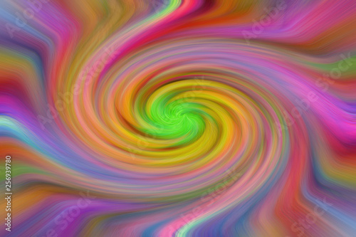 Abstract wallpaper or background. The effect of spirally twisted colored lines. - 256939780