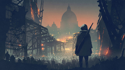 young man with gun looking at crowd of people in apocalyptic city, digital art style, illustration painting © grandfailure