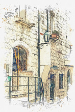 "Постер, картина, фотообои ""Watercolor sketch or illustration of a beautiful view of the traditional old street in Montenegro"""