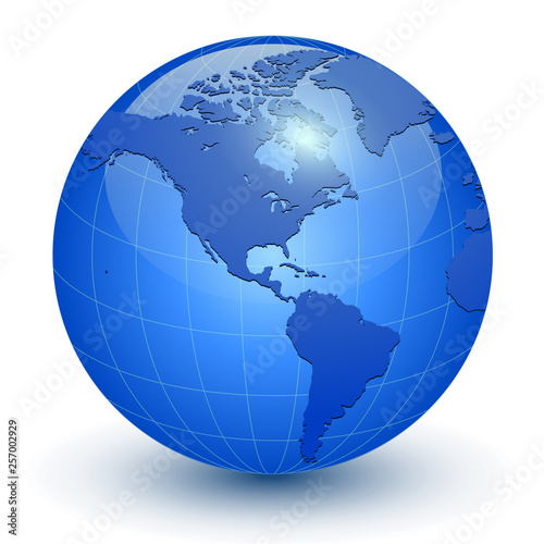 Earth globe 3D icon, glossy blue planet © Cobalt