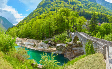 Famous bridge at Lavertezzo in Switzerland. © Composer