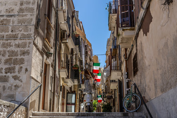 View of a narrow street in the Italian city Bari