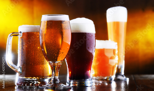 Leinwandbild Motiv Composition with five glasses of beer