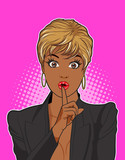black woman keep a silence with pink background