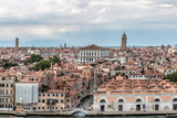 Beautiful landscape of part of the historical ensemble of the city of Veneciam seen from the sea, Italy