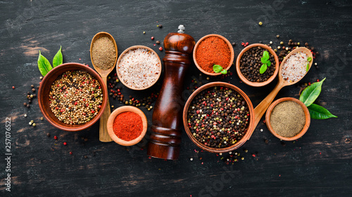 A set of peppers. Black pepper, colored pepper, ground pepper, dried chili pepper. Top view. On a black background. free space for your text. - 257076522