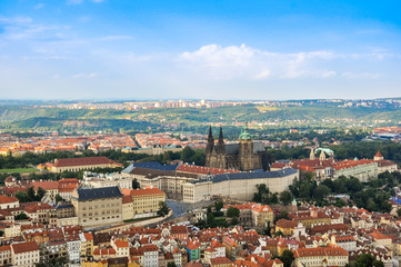 Panorama Of Prague Old Town And Vltava River, Czech Republic.