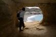 canvas print picture - Blick aus einer Höhle bei Matala, Kreta