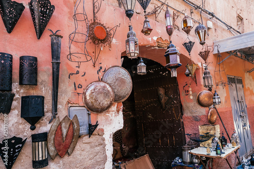 a typical store selling handmade stuff in marrakech, morocco