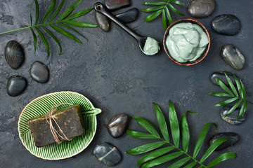 Composition with cosmetic clay for spa treatments, top view © amberto4ka