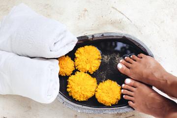 Foot bath and spa pedicure treatment © Alena Ozerova