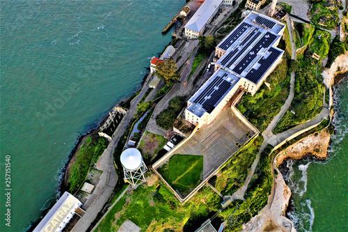 canvas print picture Alcatraz in San Francisco from above with DJI Mavic 2 Drone