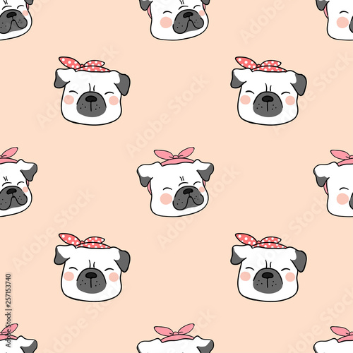 fototapeta na ścianę Draw seamless pattern head of pug dog on sweet