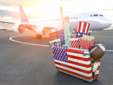 Flight to New York, USA.Vintage suiitcase with symbols of United States of America, Trip, travel and tourism  to USA concept. - 257172953