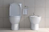 Toilet bowl and bidet in the modern bathroom. - 257172975