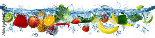 fresh multi fruits and vegetables splashing into blue clear water splash healthy food diet freshness concept isolated white background © stockphoto-graf