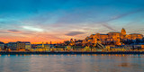Buda castle and the Danube river in Budapest at sunset, Hungary