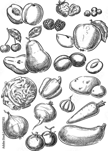 Fruits and Vegetables. - 257217583