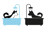 Dog taking a shower in the bath. Dog vector silhouette. Dog under the water drops.