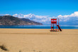canvas print picture - Lifeguardtower on a beach