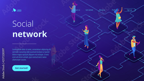 Social network isometric 3D landing page. © VIGE.co