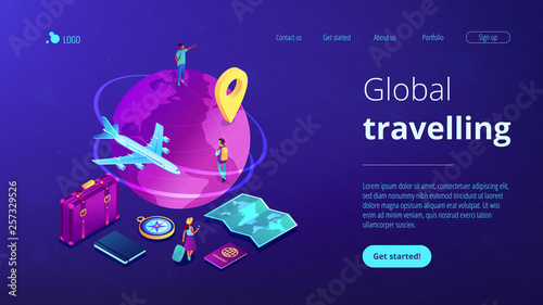 Global travelling isometric 3D landing page. © VIGE.co