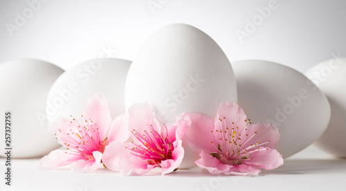 white eggs with peach flowers