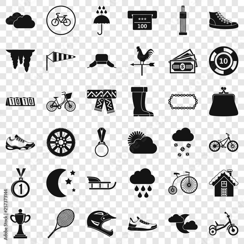 Woman sport icons set. Simple style of 36 woman sport vector icons for web for any design