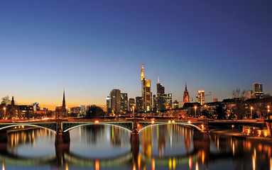 Twilight Panorama of Downtown Frankfurt
