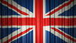 UK flag silk curtain on stage. 3D illustration