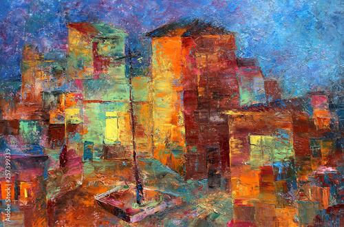 Multicolored oil painting of colorful cute houses